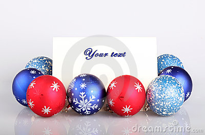 Christmas balls and greetings card