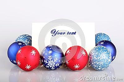 Christmas balls and greetings card