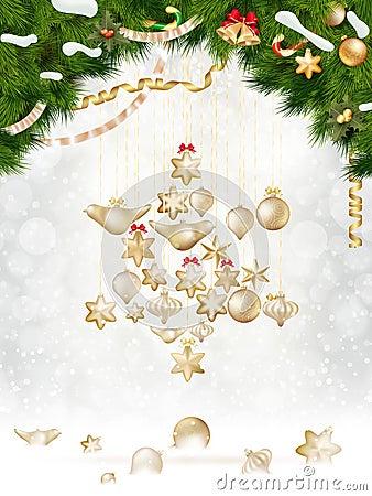 Free Christmas Balls Hanging On Fir Tree. EPS 10 Stock Photos - 45080453