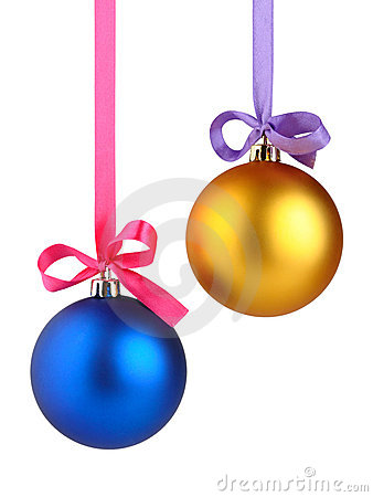 Christmas balls hanging on ribbon