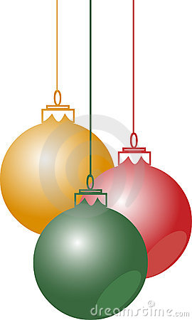 Christmas balls hanging with ribbons