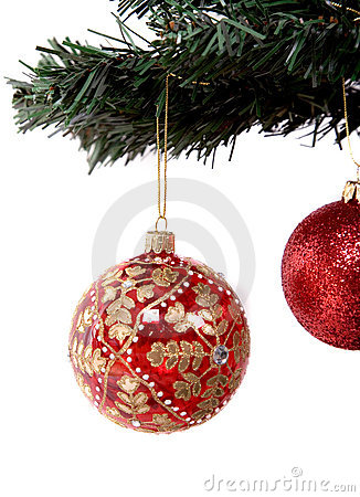 Christmas balls hanging on tree branch