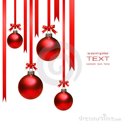 Free Christmas Balls Hanging With Ribbons On White Stock Photography - 6926002