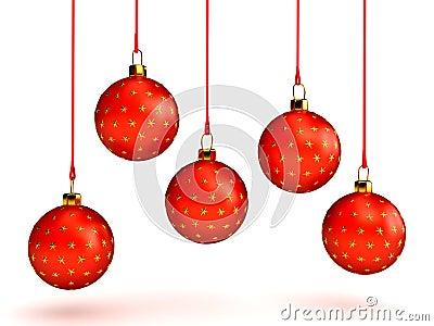 Christmas balls over white