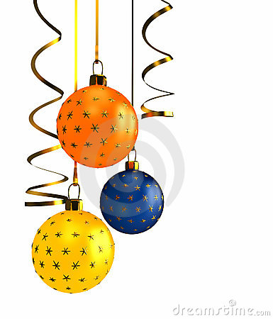 Christmas balls over white