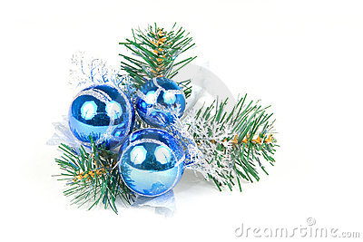 Christmas balls on a pine tree