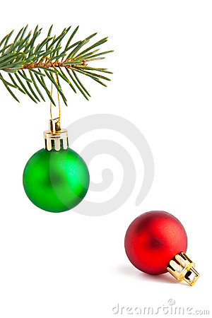 Christmas balls on the pine-tree