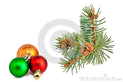 Christmas balls and pine-tree