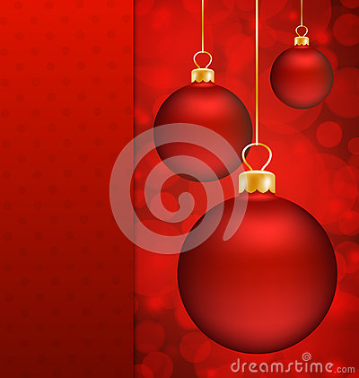 Christmas balls and Red abstract background