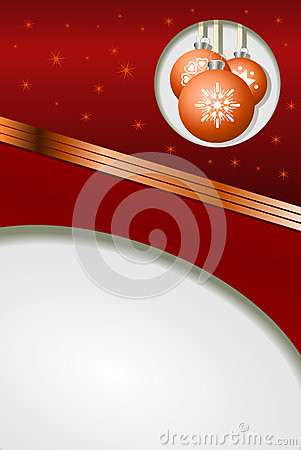 Christmas balls on a red festive background