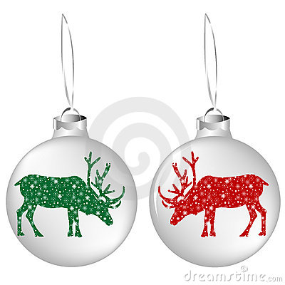 Christmas balls with reindeers