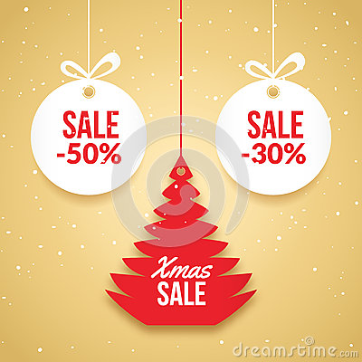 Free Christmas Balls Sale. Special Offer Vector Tag. New Year Holiday Card Template. Shop Market Poster Design With Xmas Tree Royalty Free Stock Photos - 82875528