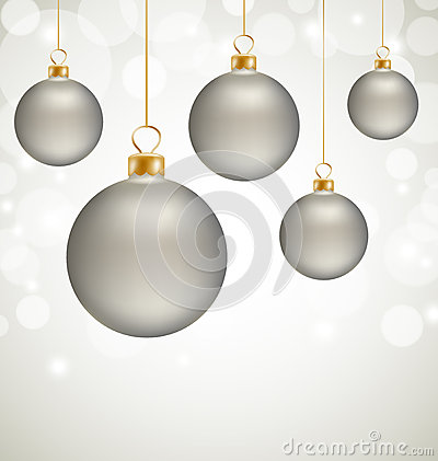 Christmas balls and snow abstract background