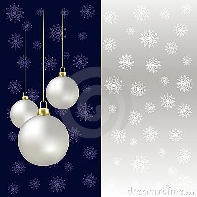 Christmas balls and snowflakes on a grey