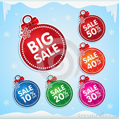 Christmas balls stickers for christmas sale with percent off Vector Illustration