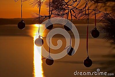 Christmas balls at sunset 1