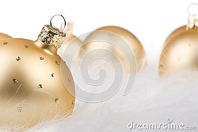 Christmas balls in white fur