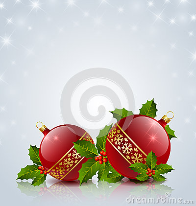 Free Christmas Balls With Holly Stock Photos - 26853863