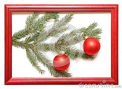 Christmas balls in wood frame
