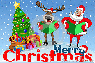 Christmas banner cartoon santa claus reindeer singing snow Vector Illustration