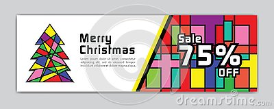 Christmas banner, Sale banner template, Horizontal christmas posters, cards, headers, website, colorful background, vector Vector Illustration