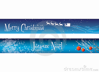 Christmas Banners on Blue