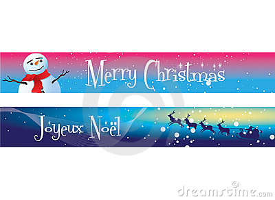Christmas Banners on Blue and Pink