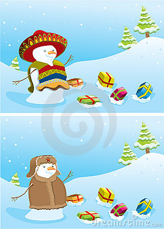 Mexican Snowman Christmas Card Royalty Free Stock Image - Image ...