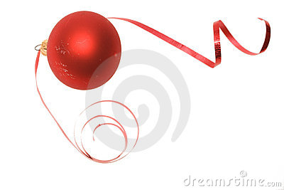 Christmas bauble and dancing ribbon