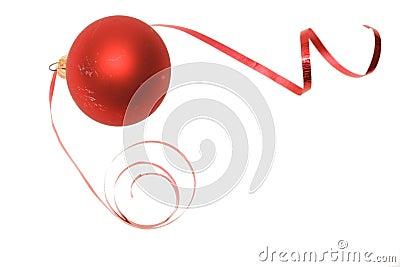 Christmas bauble and dancing ribbon