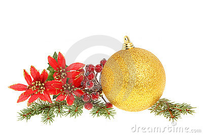 Christmas bauble and foliage