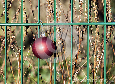 Christmas bauble hanging on a fence