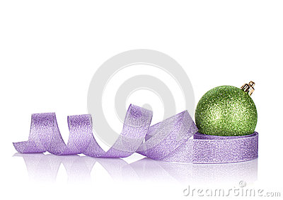 Christmas bauble with purple ribbon