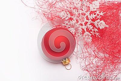 Christmas bauble and snowflake