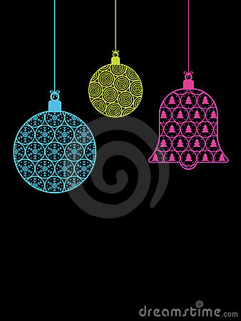 Christmas baubles on black