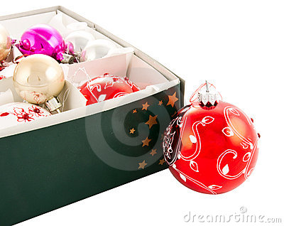 Christmas baubles in box