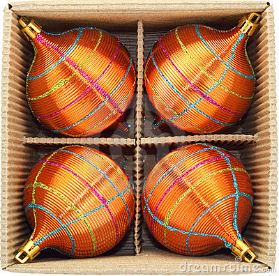 Christmas Baubles in Cardboard Box