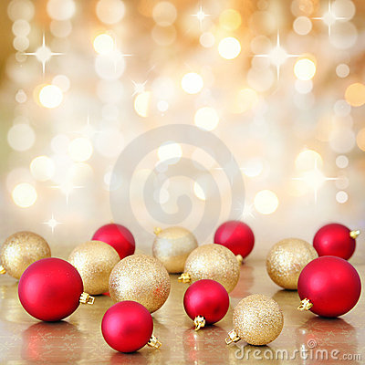Christmas baubles on defocused lights background