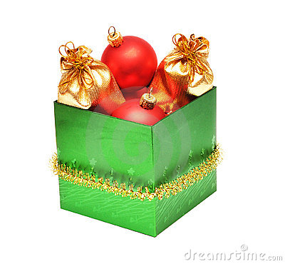 Christmas baubles in gift box