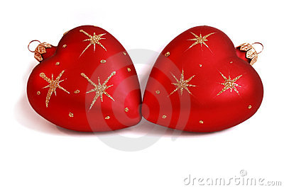 Christmas baubles with heart form