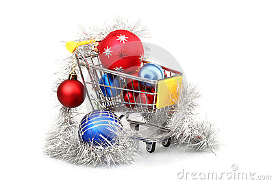 Christmas baubles inside shopping trolley