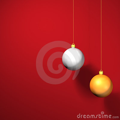 Christmas baubles on red