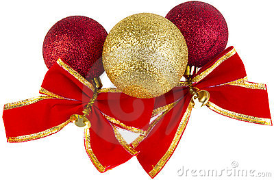 Christmas baubles with red bows