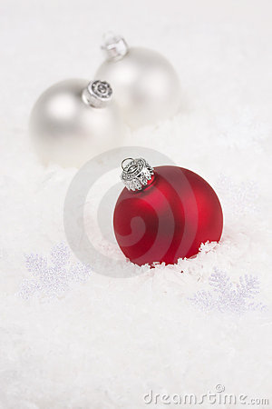 Christmas baubles and snowflake