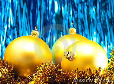 Christmas baubles with tinsel