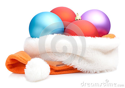 Christmas Baubles in Traditional Santa Hat