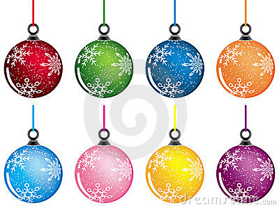 Christmas baubles, vector