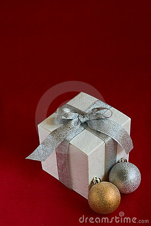 Christmas baubles and white gift box