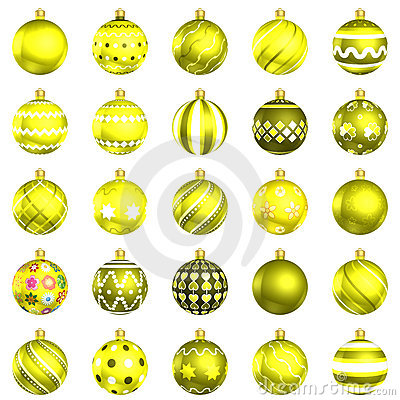 Christmas baubles yellow pack on white background