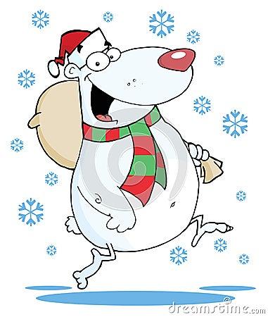 Christmas bear runs with bag